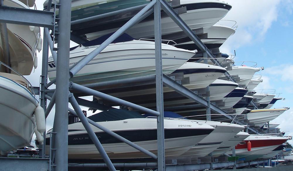 Boats in storage racks