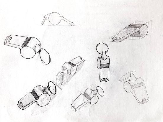 OuÏsol dessin crayon Art Contemporain Martin Cherel sifflet recourbé