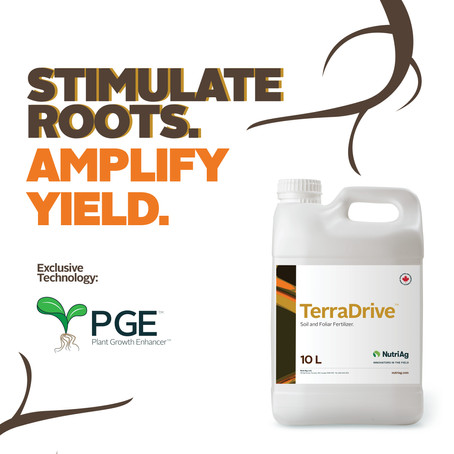 NutriAg Launches TerraDrive™, a New Soil and Foliar Fertilizer With PGE™ Technology.