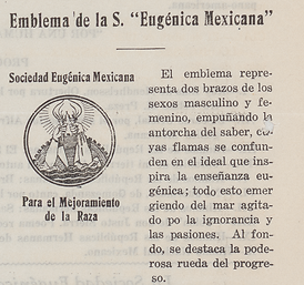"Emblem from the Mexican Eugenics Society for the Improvement of the Race, published in each edition of the Society's Bulletin. The text on the right reads as follows: ""El emblema representa dos brazos de los sexos masculine y femenino, empuñando la antorcha del saber, cuyas flamas se confunden en el ideal que inspira la enseñanza eugénica; todo esto emergiendo del mar agitado por la ignorancia y las pasiones. Al fondo, se destaca la ponderosa rueda del progreso"" [The emblem represents two arms of the masculine and feminine sexes, holding up the torch of knowledge, whose flames merge into the ideal that eugenic teaching inspires; all this emerges from the sea, agitated by ignorance and passions. In the background, the powerful wheel of progress stands out]."