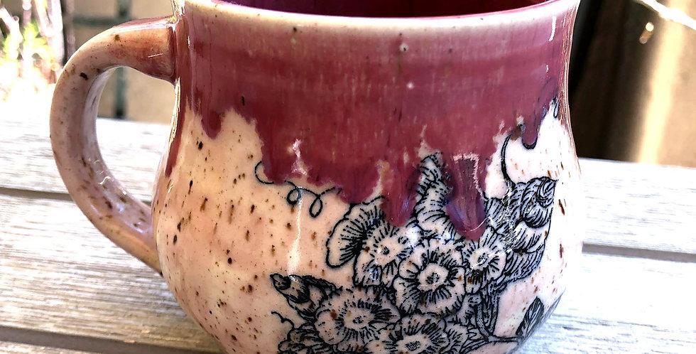 Magenta Floral Mug
