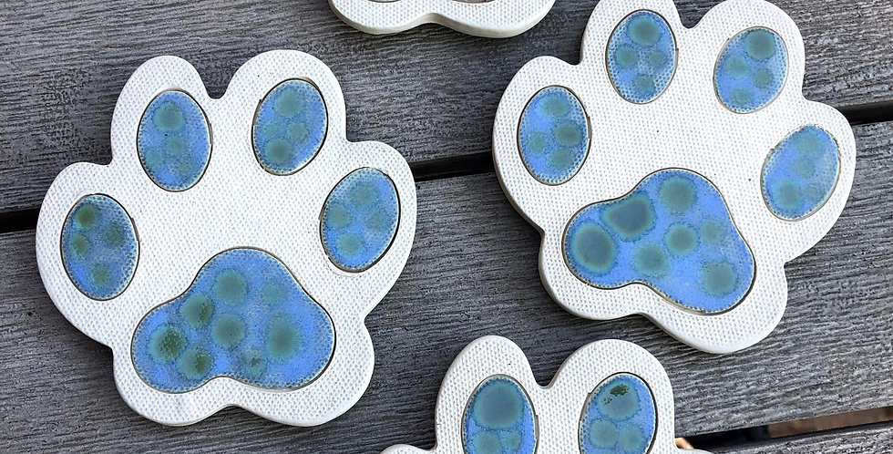 Speckled Paw Print Coasters