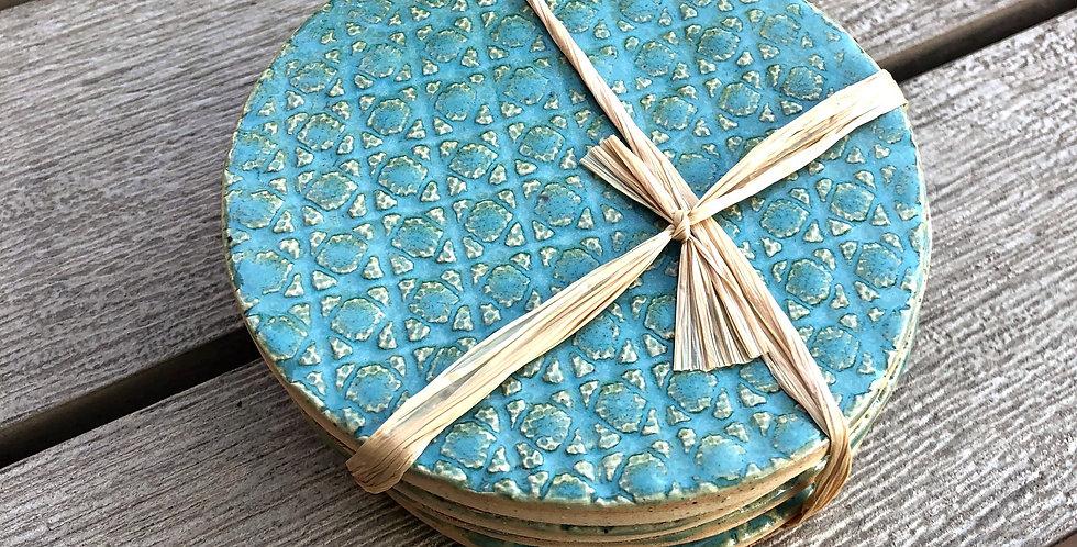 Aqua Textured Coasters