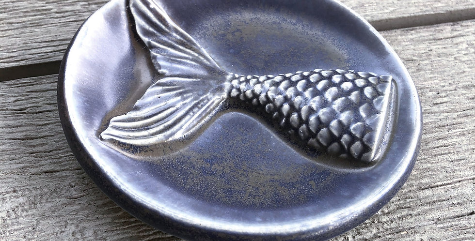 Blue Charcoal Mermaid Trinket Dish