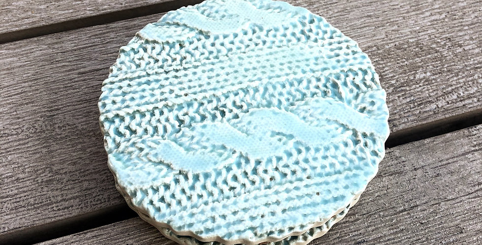 Soft Aqua Sweater Coaster