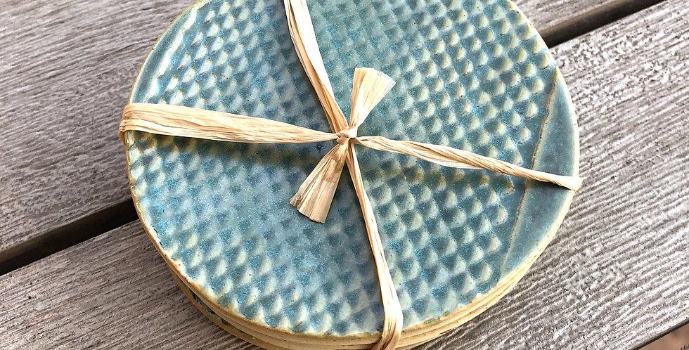 Aurora Borealis Snakeskin Textured Coasters