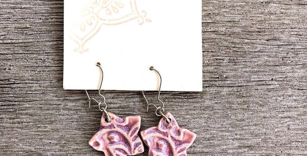 Magenta Star Earrings