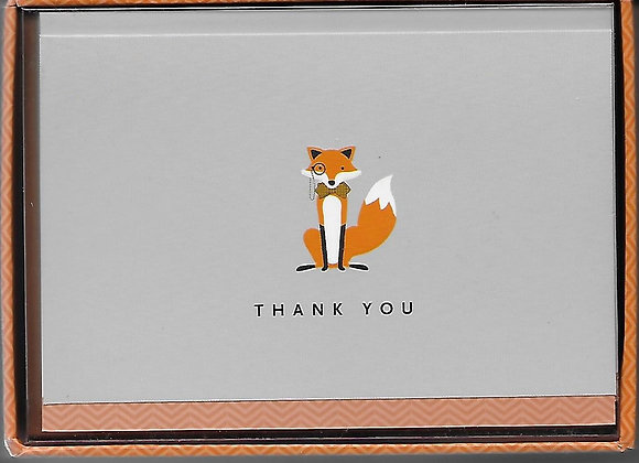 Dapper Fox Thank You Notes, Boxed
