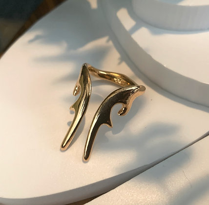 ANTLER LONG RING GOLD