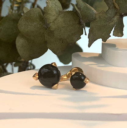 BONES DOUBLE BLACK ONYX RING/GOLD