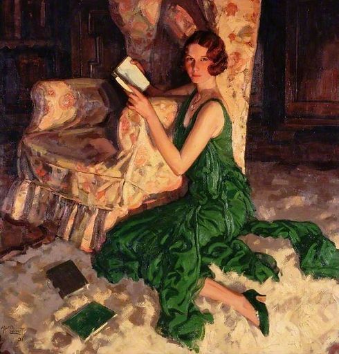 Painting of woman in green dress with book