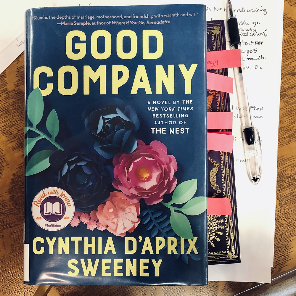 Good Company by Cynthia D'Aprix Sweeney with sticky notes on the side, paper and pen sitting on oak table