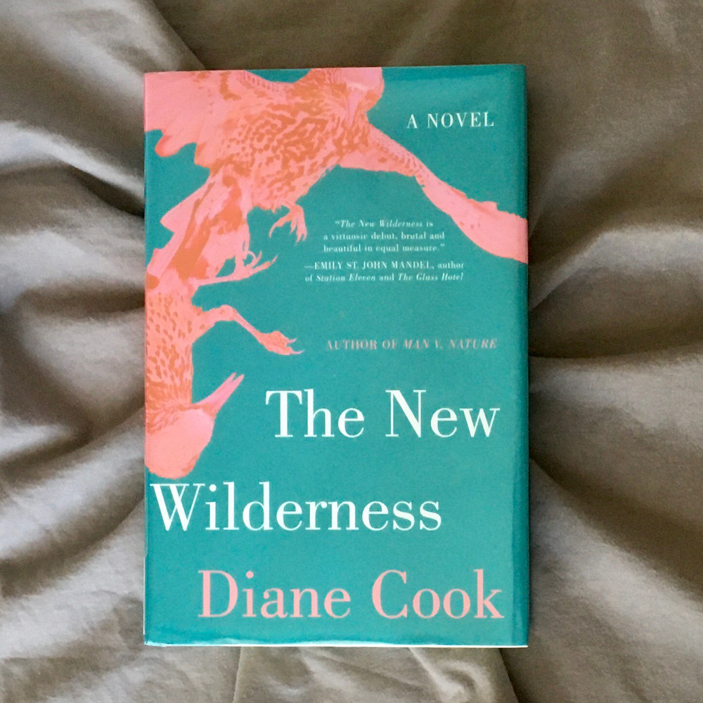 The New Wilderness by Diane Cook lying over a dark gray swirl of fabric