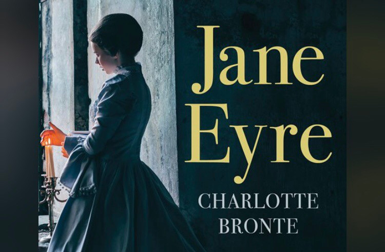 Lady in period dress and bonnet looks out window. Jane Eyre by Charlotte Bronte
