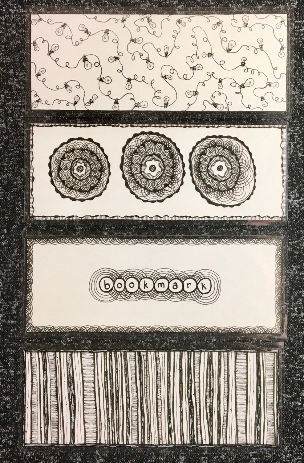 Hand drawn doodled bookmarks in black and white