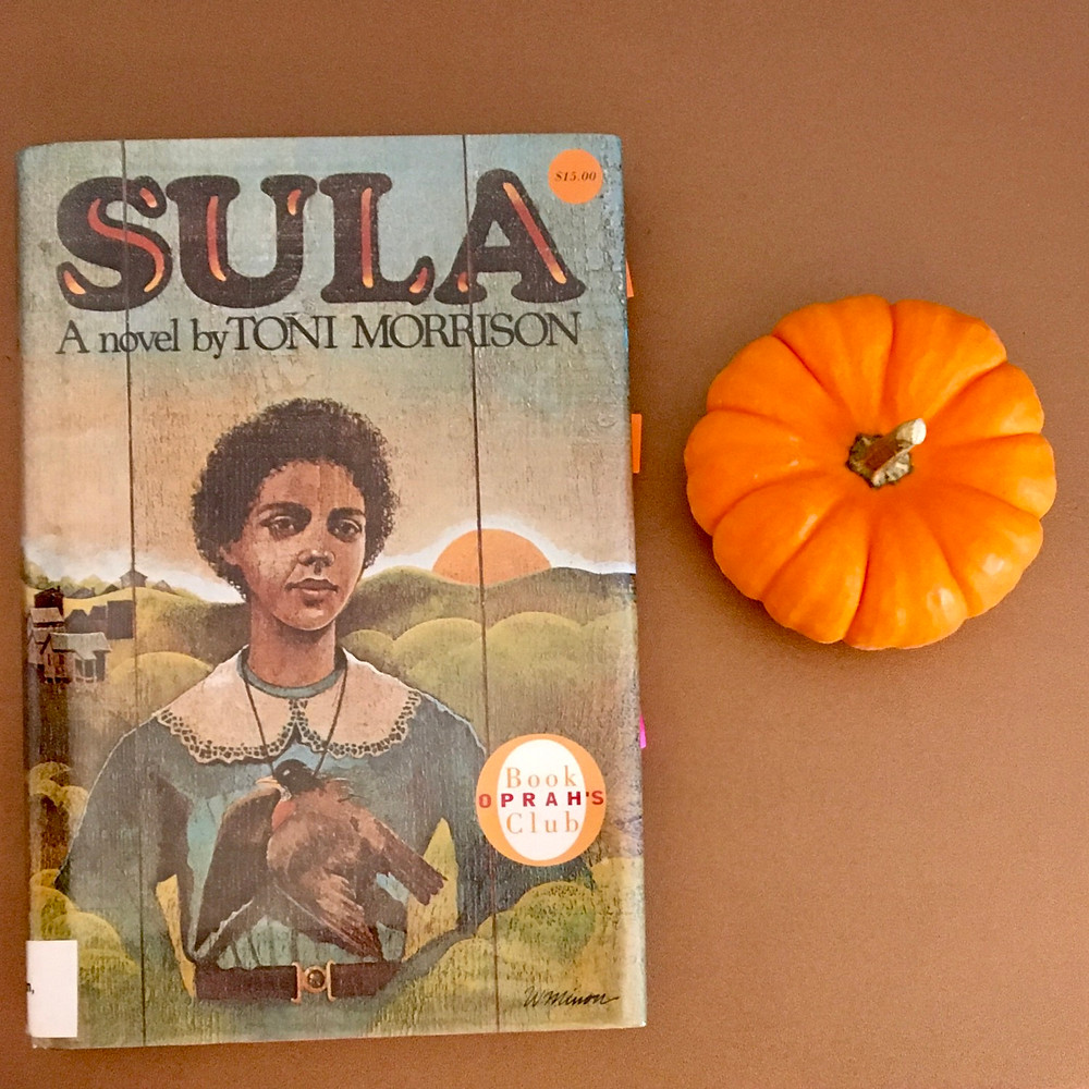 Sula by Toni Morrison with small pumpkin