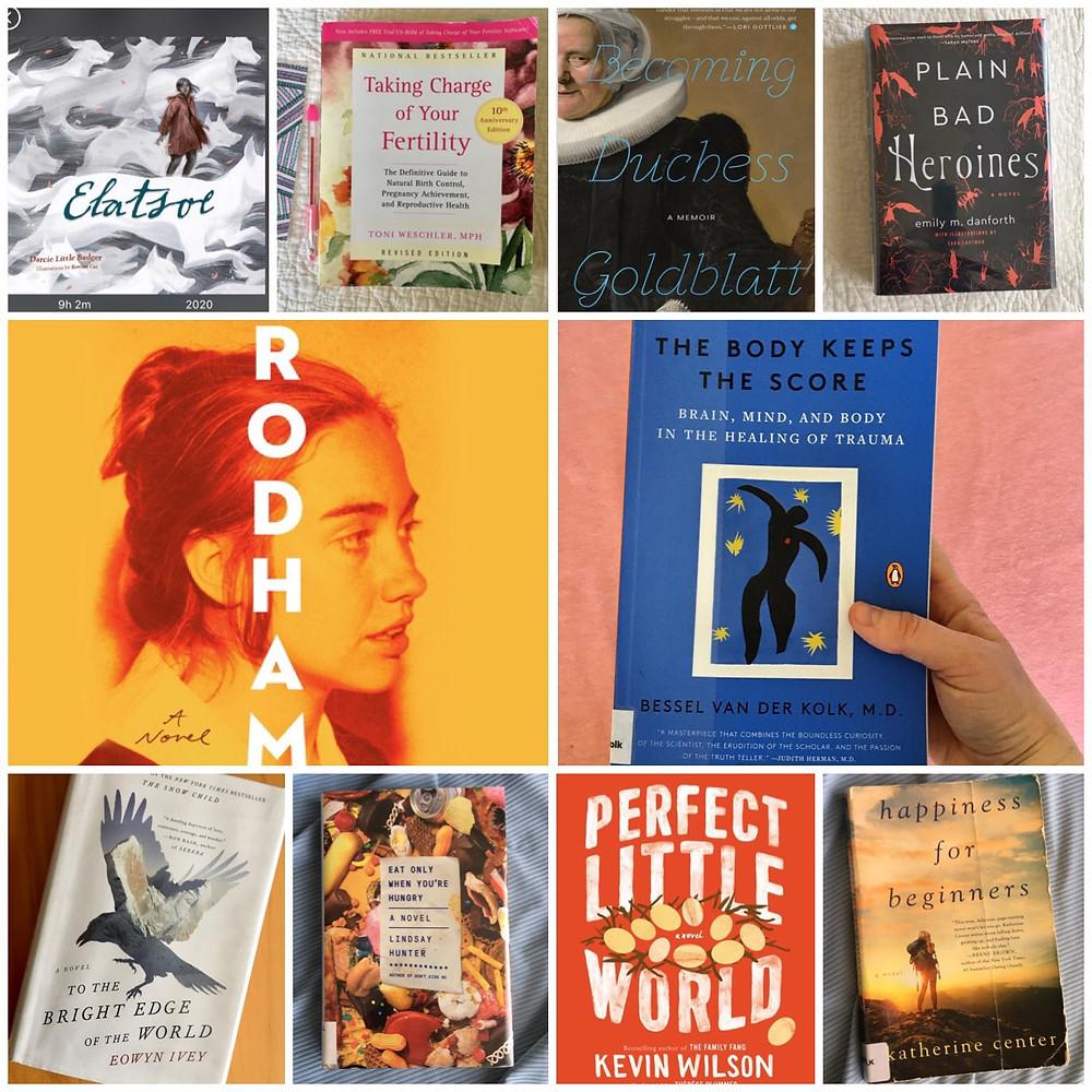 A collage of book photos