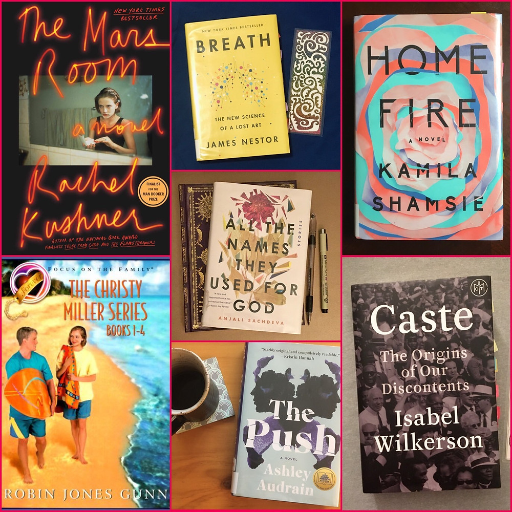 Book collage The Mars room, Christy Miller Series, Breath, All the Names They Used for God, The Push, Home Fire, Caste