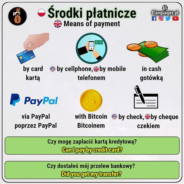 metody płatności i środki płatnicze po angielsku