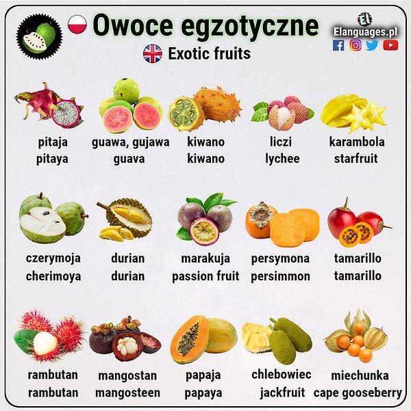 Owoce egoztyczne po angielsku