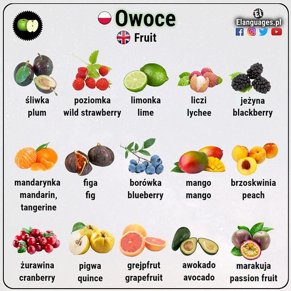 Nazwy owoców po angielsku