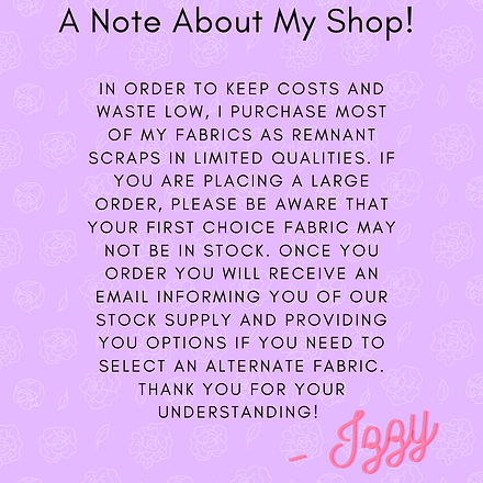 A Note About My Shop