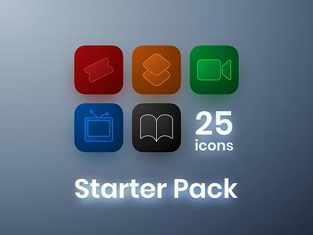 Free Starter Pack of iOS 14 icons | Free | Premium | Red | Orange | Green | Blue | Black  | 25
