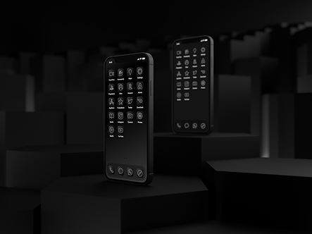 Two iPhone 12 with Custom iOS 14 Icons | Ebony Icon Pack | Black | Gray