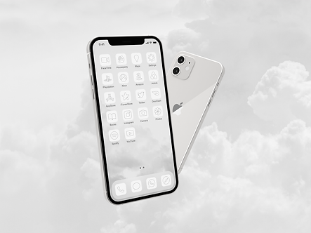 Two iPhone 12 phones with custom iOS 14 icon packs | Heavenly Icon Pack | Kelli Ann | White | Gray | Floating in the clouds