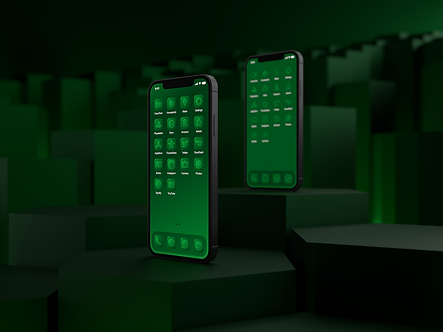Two iPhone 12 phones with custom iOS 14 icon packs | Malachite Icon Pack | Premium | Minimal | Green | Standing on Hexagonal Pillars