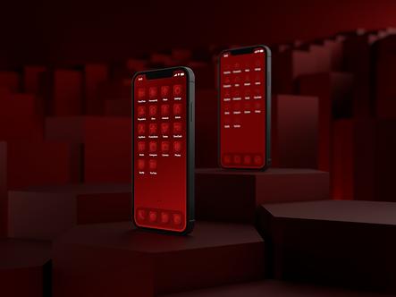 Two iPhone 12 phones with custom iOS 14 icon packs | Strawberry Icon Pack | Premium | Minimal | Red | Standing on Hexagonal Pillars