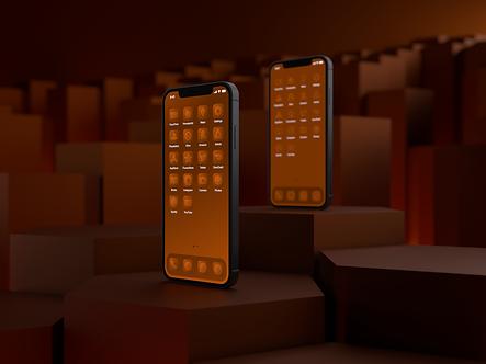 Two iPhone 12 phones with custom iOS 14 icon packs | Clementine Icon Pack | Premium | Minimal | Orange | Standing on Hexagonal Pillars