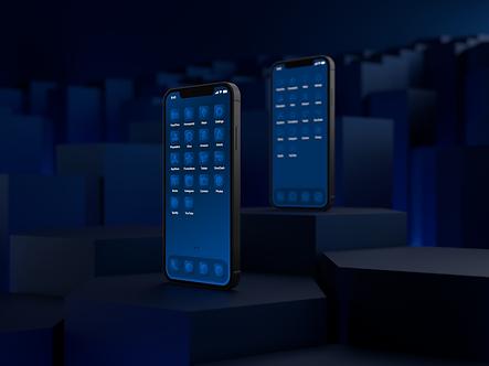Two iPhone 12 phones with custom iOS 14 icon packs | Azure Icon Pack | Premium | Minimal | Blue | Standing on Hexagonal Pillars