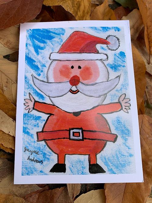 "20 x PLAIN PAPER Christmas Cards  ""Jayne's Santa"""