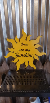 Sun with vinyl lettering
