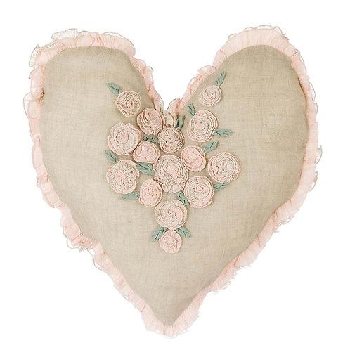 ハート・クッション Rose Linen