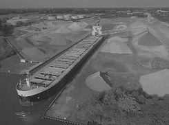 bay aggregate dock with ship