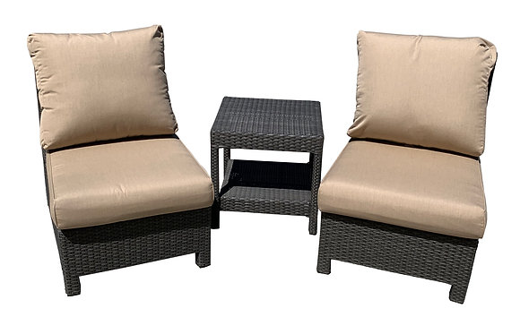 Slipper Chair Set with Middle Table, Brown, Beige Cushions