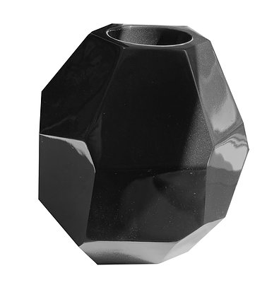 Fibreglass Pot, Metallic Black, Multi-Faceted, Table Top