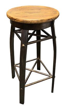 Barstool, Rustic, All Metal, Faux Wood Seat