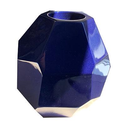 Fibreglass Pot, Metallic Blue, Multi-Faceted, Table Top