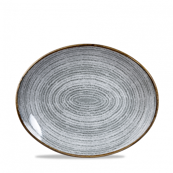 """SPSG OP58 - Studio Prints Oval Coupe Plate 10-5/8"""", Stone Grey"""