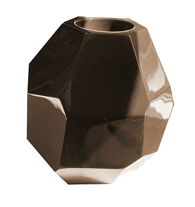 Fibreglass Pot, Metallic Bronze, Multi-Faceted, Table Top
