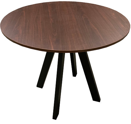 Table, Dark Laminate Wood Grain Top, Round with Black Base