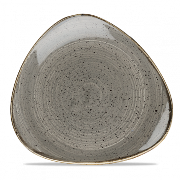 "SPGS TR10 - Stonecast Lotus Triangle Plate 10-1/2"", Peppercorn Grey"