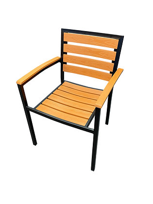 Resin Wood Side Chair with Steel Frame