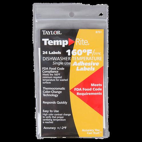 TempRite Single Use Dishwasher 160F Test Labels