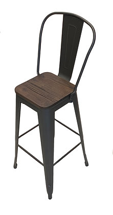 Rustic Bar Chair with Wood Seat