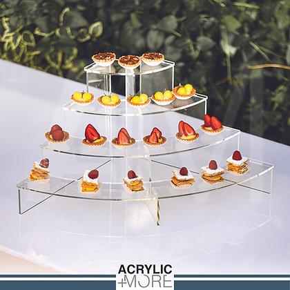 Acrylic Quarter Circle 4 Tiers Food Display Riser