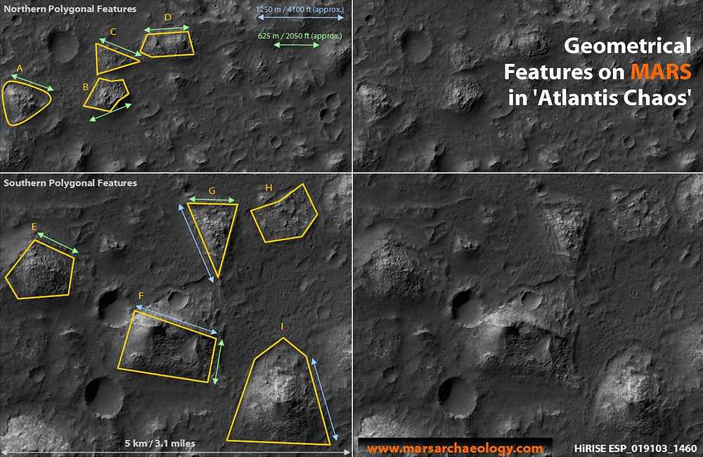 Fig.1 Geometrical Features on Mars, in 'Atlantis Chaos' (Credit: Mars Archaeology Archive)